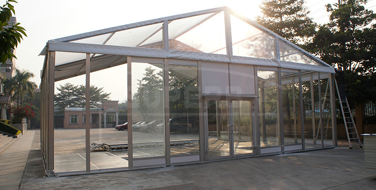 12m clean roof glass sidewalls wedding tent [MS series]