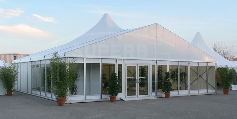Top grate glass sidewalls high peak party tent [SS series]