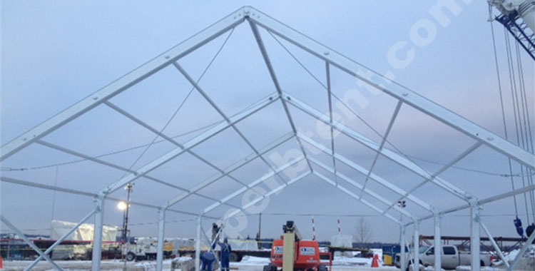 Industrial tent in Canada with 30 degree pitch